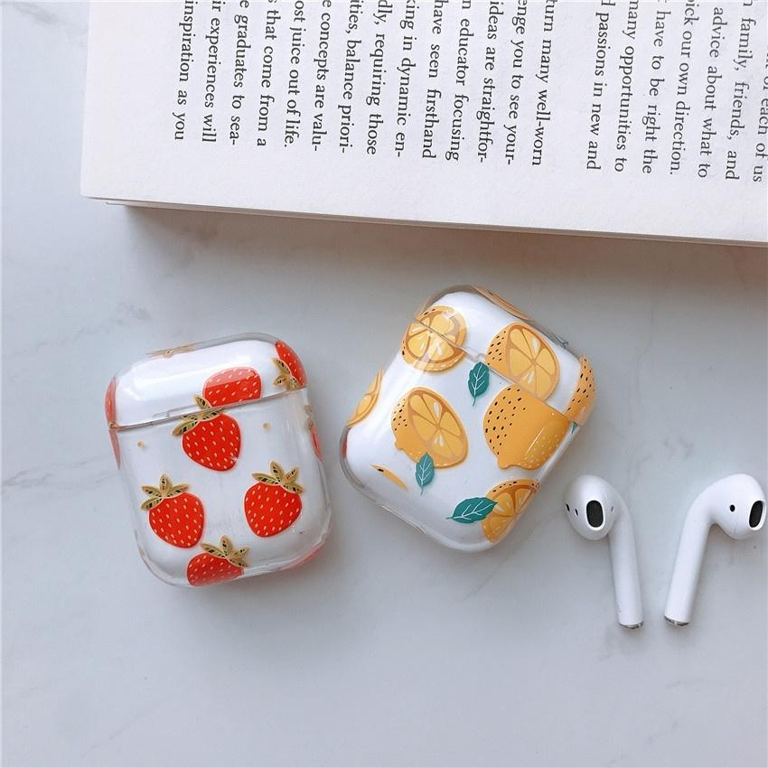 New Women's Girls Fresh Sweet Style Flamingo Cherry Peach Strawberry Lemon Fruit Pattern Clear PC Case Hard Shockproof Earphone Cover for Airpods