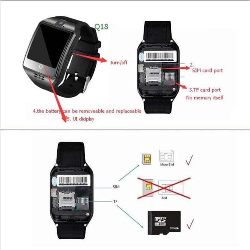 Q18 Smart Bluetooth Watch NFC Phone HTC SIM Card