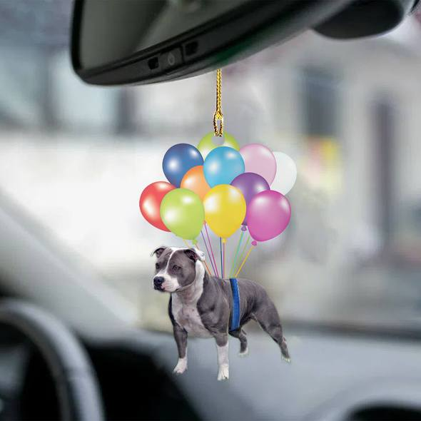 Staffordshire Bull Terrier01 fly with bubbles dog hanging ornament