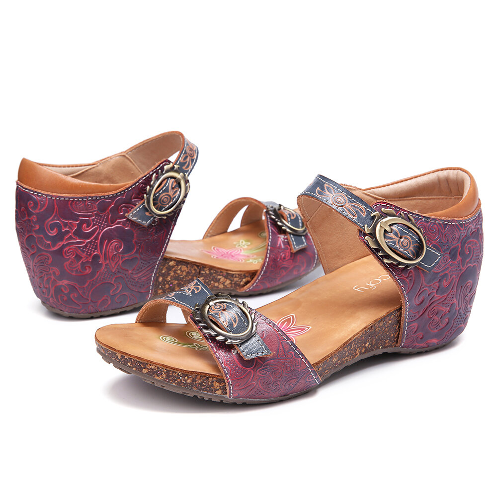Leather with SOCOFY Vintage Leather Embossed Floral Adjustable Buckle Strap Wedge Sandals