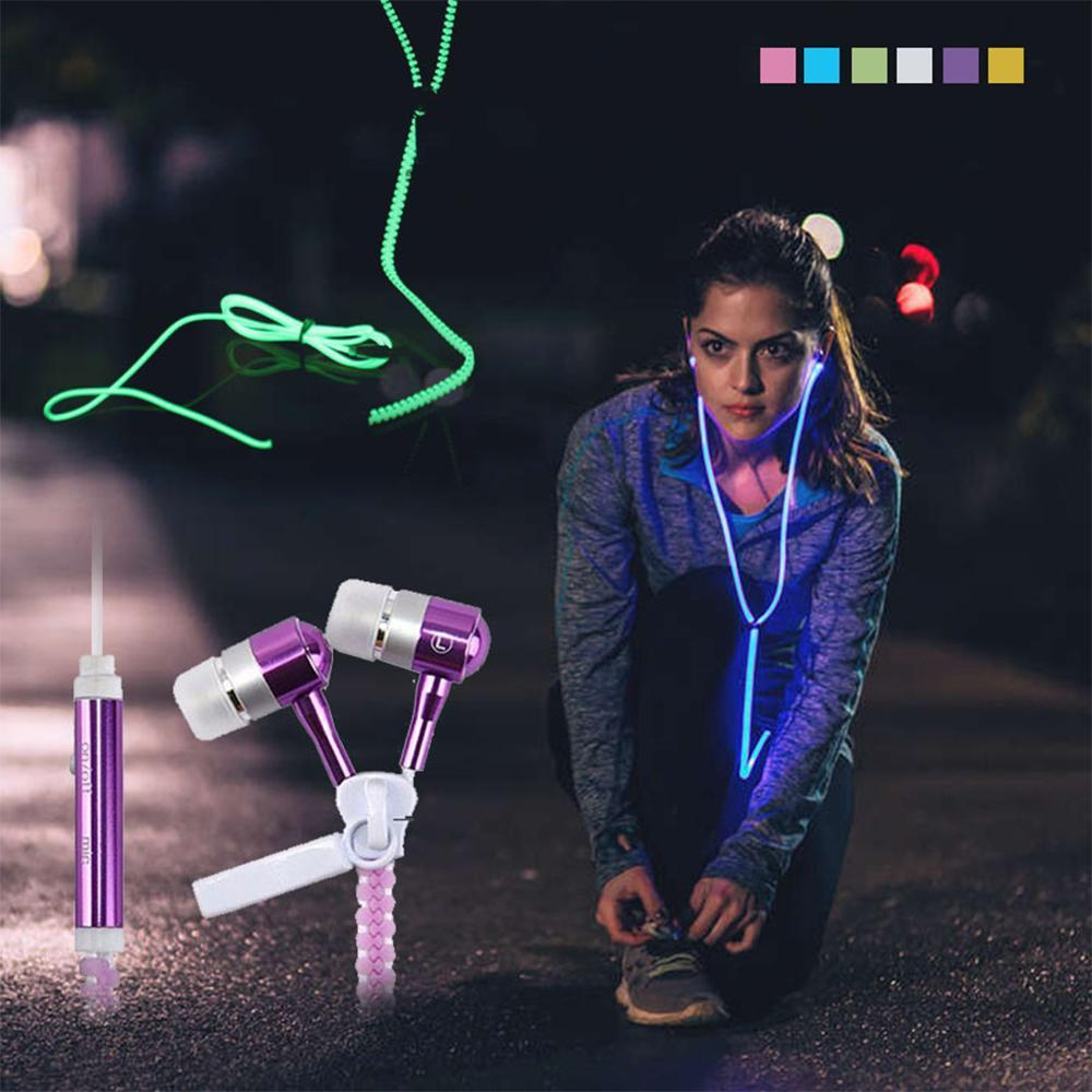 Zipper in Ear Wired Headphones Luminous Earphones Glow In The Dark