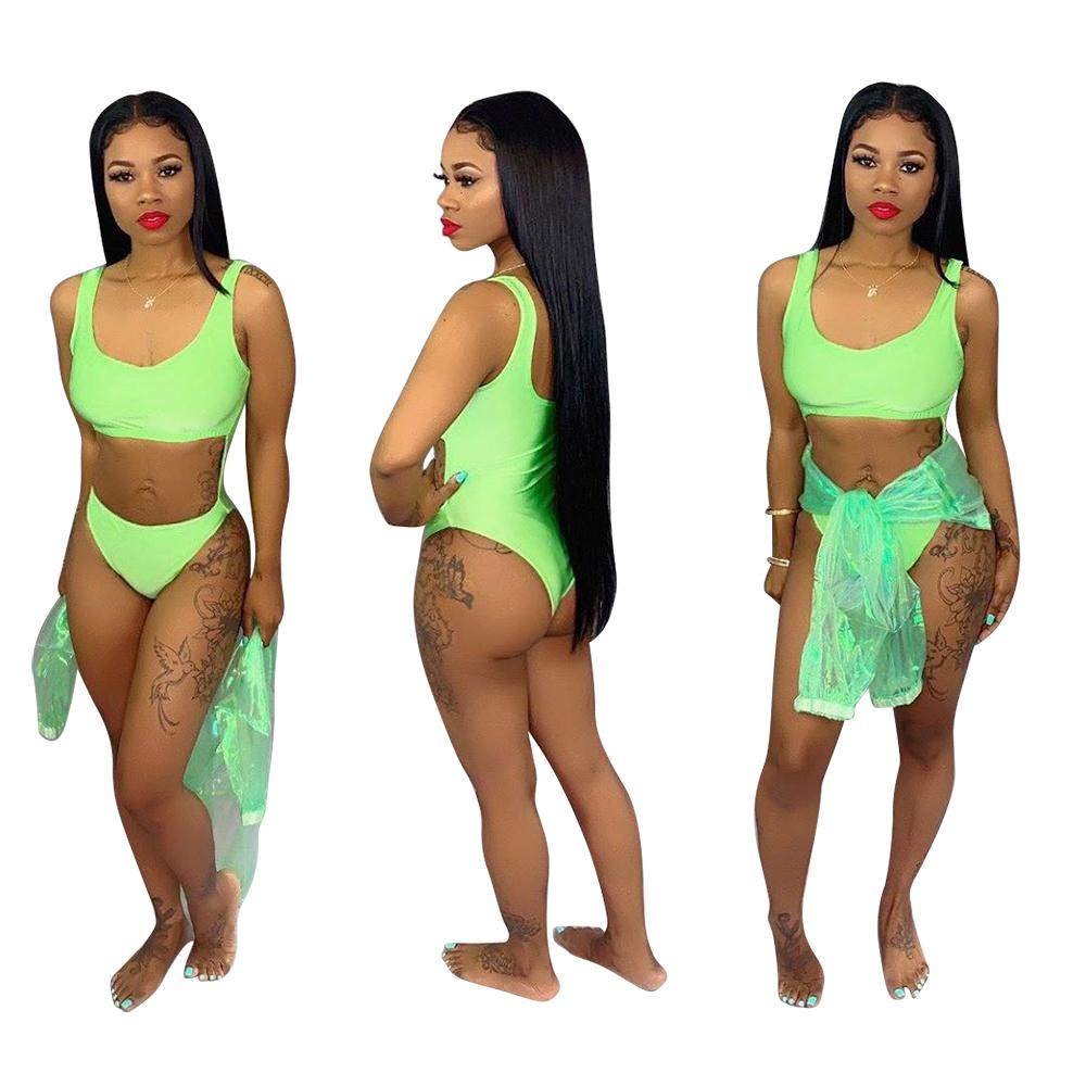 One-Piece Cut Out Swimwear and Shirt