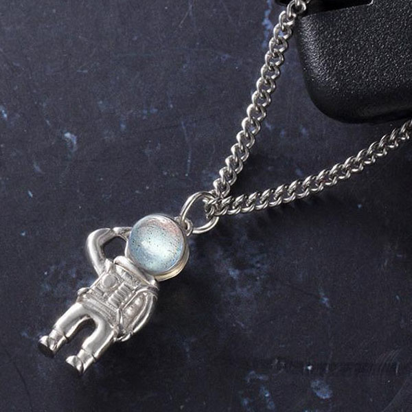 Silver Space Man Necklace (Unisex)