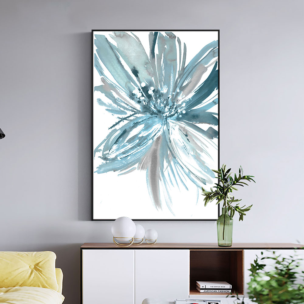 Abstract Flower Painting Hand Painted Oil Painting On Canvas Handmade Blue Flower Painting Art Modern Wall Art For Home Decor