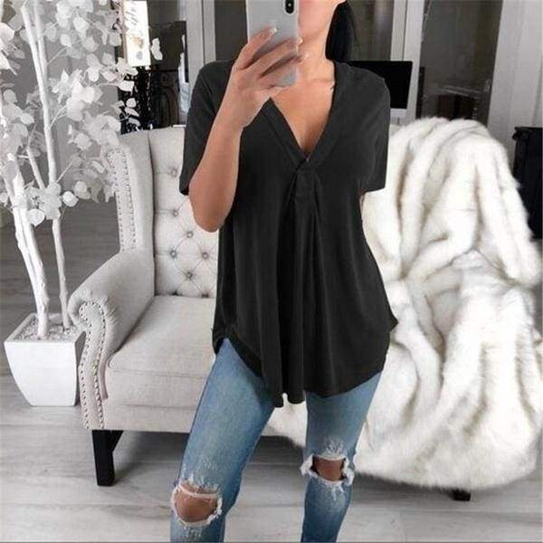 Plus Size S-5XL Summer Fashion Casual V-neck Short Sleeve  Loose Solid Color T-shirt Tops
