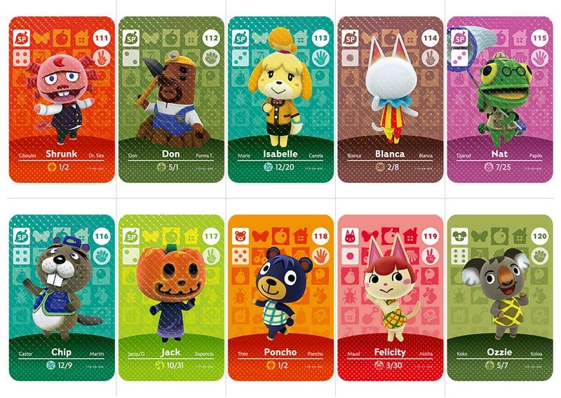 2020 NEW Animal Crossing Card Amiibo Card Work for NS Games Series 1&Series 2 (091 to 120)