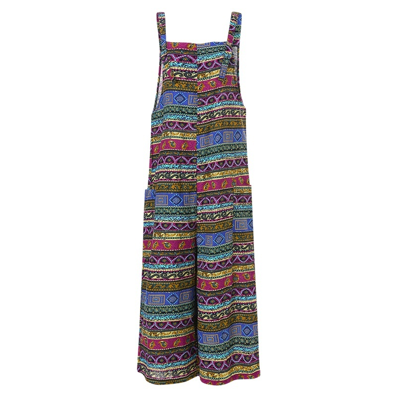 S-5XL Women Sleeveless Printed Casual Straps Overalls Jumpsuits Wide Leg Cotton Dungarees Pants