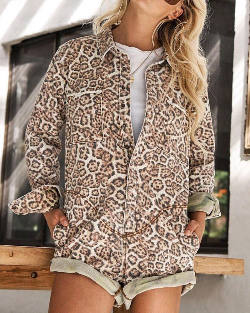 Casual Printed Women Leopard Rompers