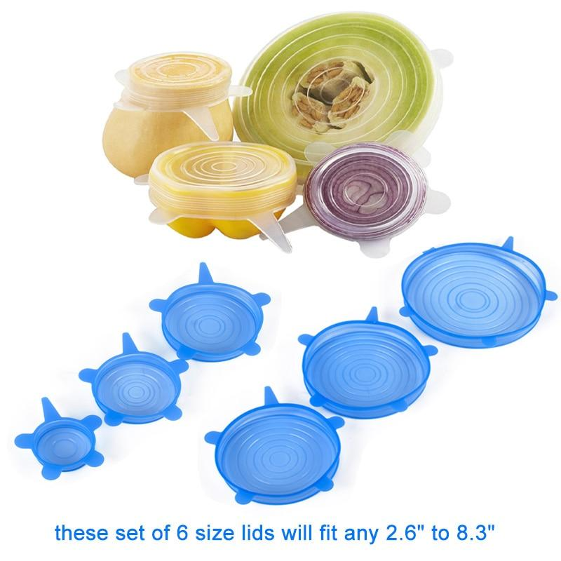 12pcs Reusable Silicone Caps Food Cover Elastic Stretch Adjustable Bowl Lids Kitchen Wrap Seal Fresh Keeping Silicone Cookware