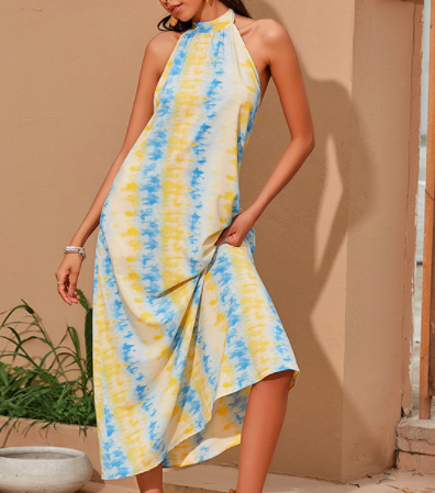 Casual Cotton,Polyester Sleeveless Spaghetti Strap Floral with Dresses(Plus Size)