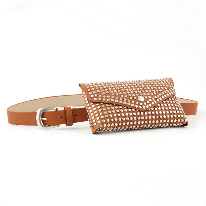 Womens Leather Belt Fanny Pack With Removable Belt Metal Spike Studded Waist Pouch Fashion Belt Bags-1.9