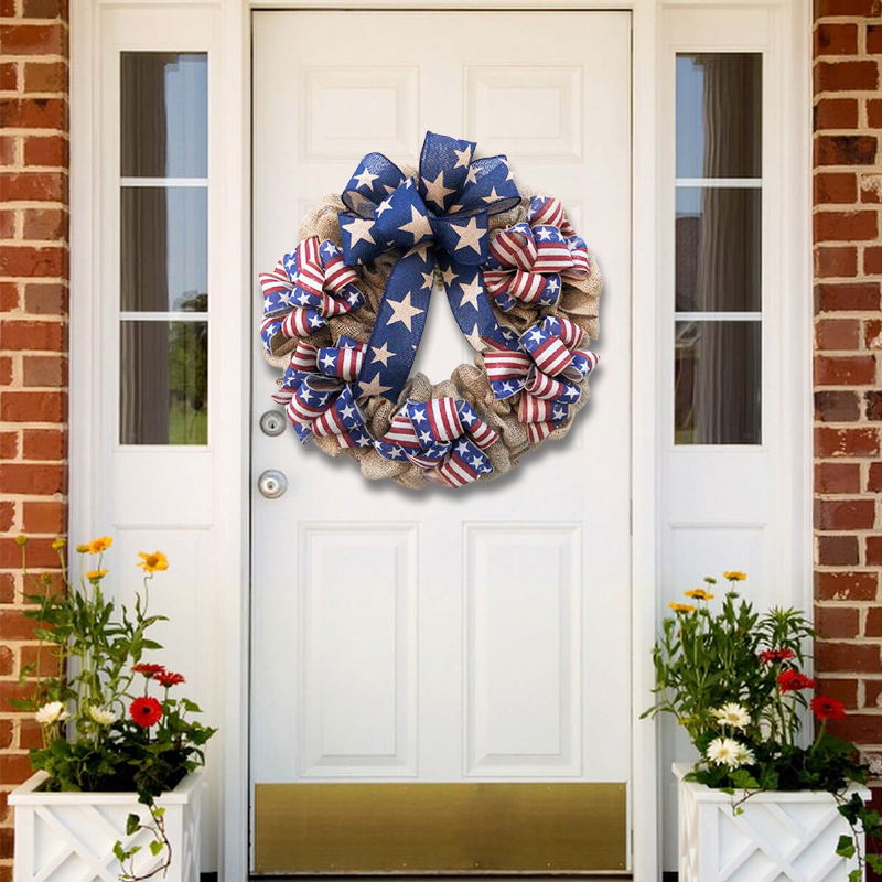 American Flag Ribbon Wreath for July 4(Holiday specials 49% OFF)