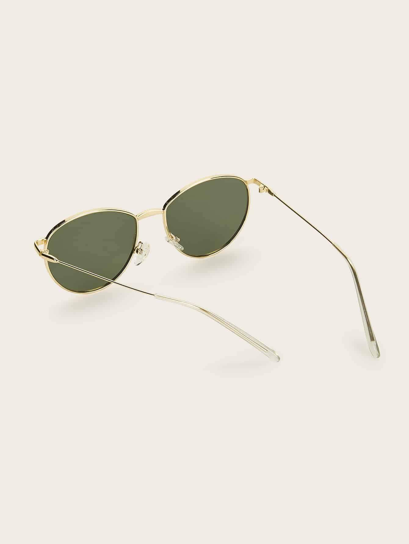 Round Metal Frame Tinted Lens Sunglasses