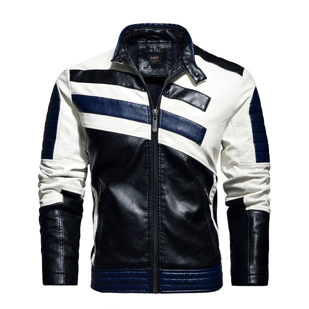 Men's Multi-Color Fashion Leather Jacket Streetwear