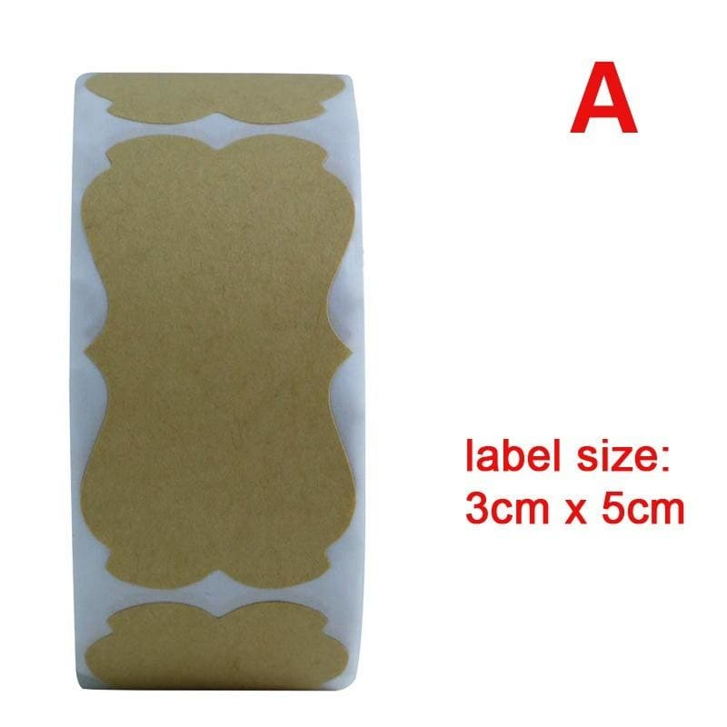 300pcs/Roll  Kraft Paper Sticker Christmas Wedding Festival Birthday Gift Label Holiday Gift for Thankyou Sticker Label