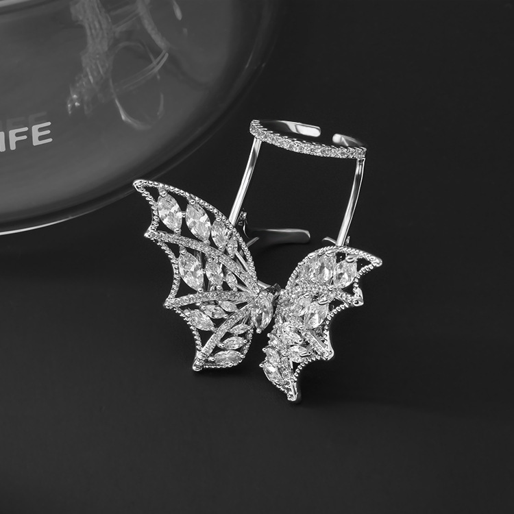 Crystal Flying Butterfly Ring【One Size Fits All】