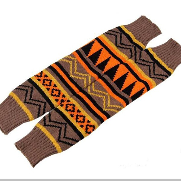 Winter Fashion Aztec Patterned Boho Leg Warmers Knit Leg Warmers  for Tall Short Boots Desert Sunset Western Style Cowgirl Boots Cover Cuff Toppers Extra Long Thick Over The Knee Knitted Socks