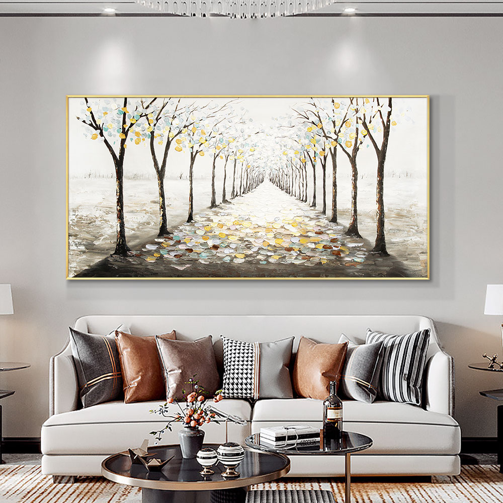 Abstract Trees With Yellow Leaves Modern Hand Painted Oil Painting On Canvas Wall Art Handmade Unframed Art For Home Decoration