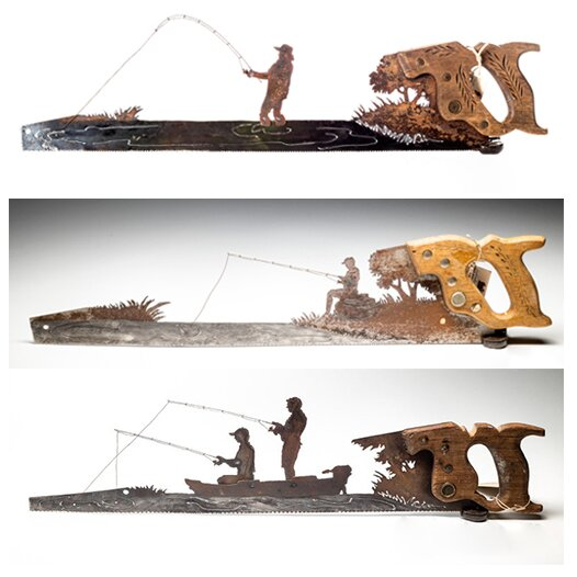 Father's Day Unique Gift&Metal Art Fishing Boat design - Wall Decor