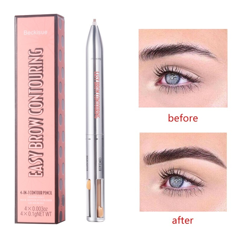 4 in 1 Easy to Wear Eyebrow Contour Pen Defining Highlighting Brow Micro Blading Beauty Makeup