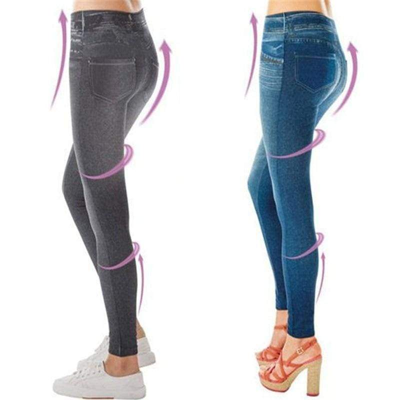 Sport Lady Women Denim Jeans Leggings Jeggings Streth Pants Blue Black Slim Fit Leggings Skinny Trousers With Pockets