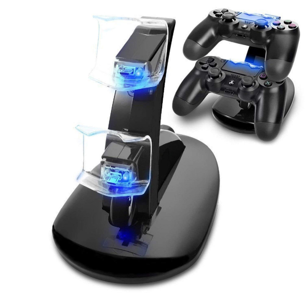 Arosetop Controller Charger Dock LED Dual USB Charging Stand Station Cradle for Sony Playstation 4 PS4 / PS4 Pro /PS4