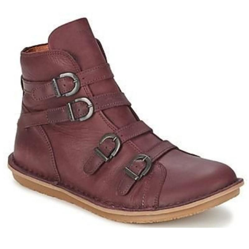 Vintage Round Toe Buckle Strappy Comfy Boots