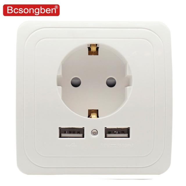 Bcsongben Dual USB Port Wall Charger Adapter Charging 2A Wall Charger Adapter EU Plug Socket Power Outlet white