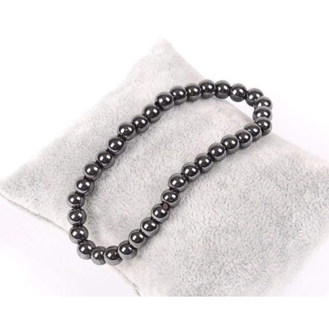 Women Black Cool Magnetic Bracelet Beads Hematite Stone Therapy Health Care Magnet Hematite Beads Bracelet Men's Jewelry