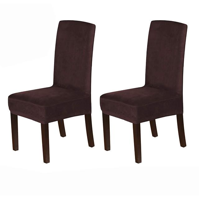 1 Set of 2 Pieces Velvet Dining Chair Covers Stretch Chair Covers for Dining Room Parson Chair Slipcovers Chair Protectors Covers Dining Soft Thick Solid Velvet Fabric Washable