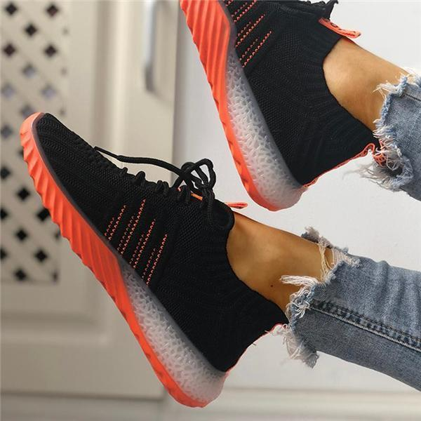 Lemmikshoes Colorblock Knitted Breathable Lace-Up Sneakers