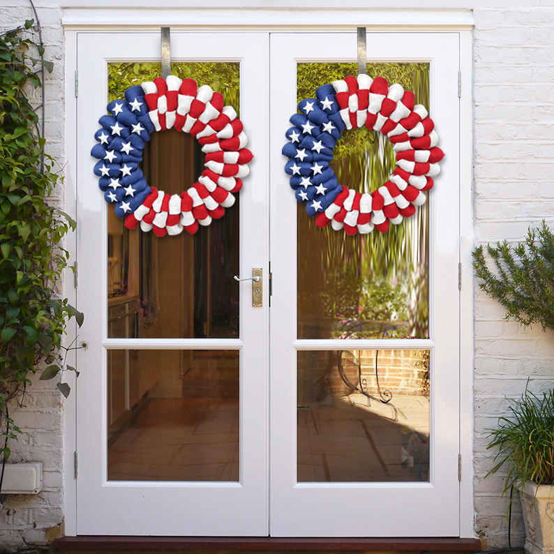 4th of July Burlap Blooms Wreath