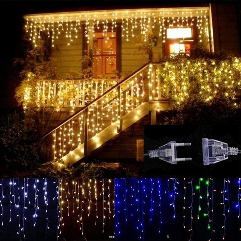 5M Christmas LED Curtain Icicle String Light Droop 0.4-0.6m Party Garden Stage Outdoor Waterproof Decorative Fairy Light