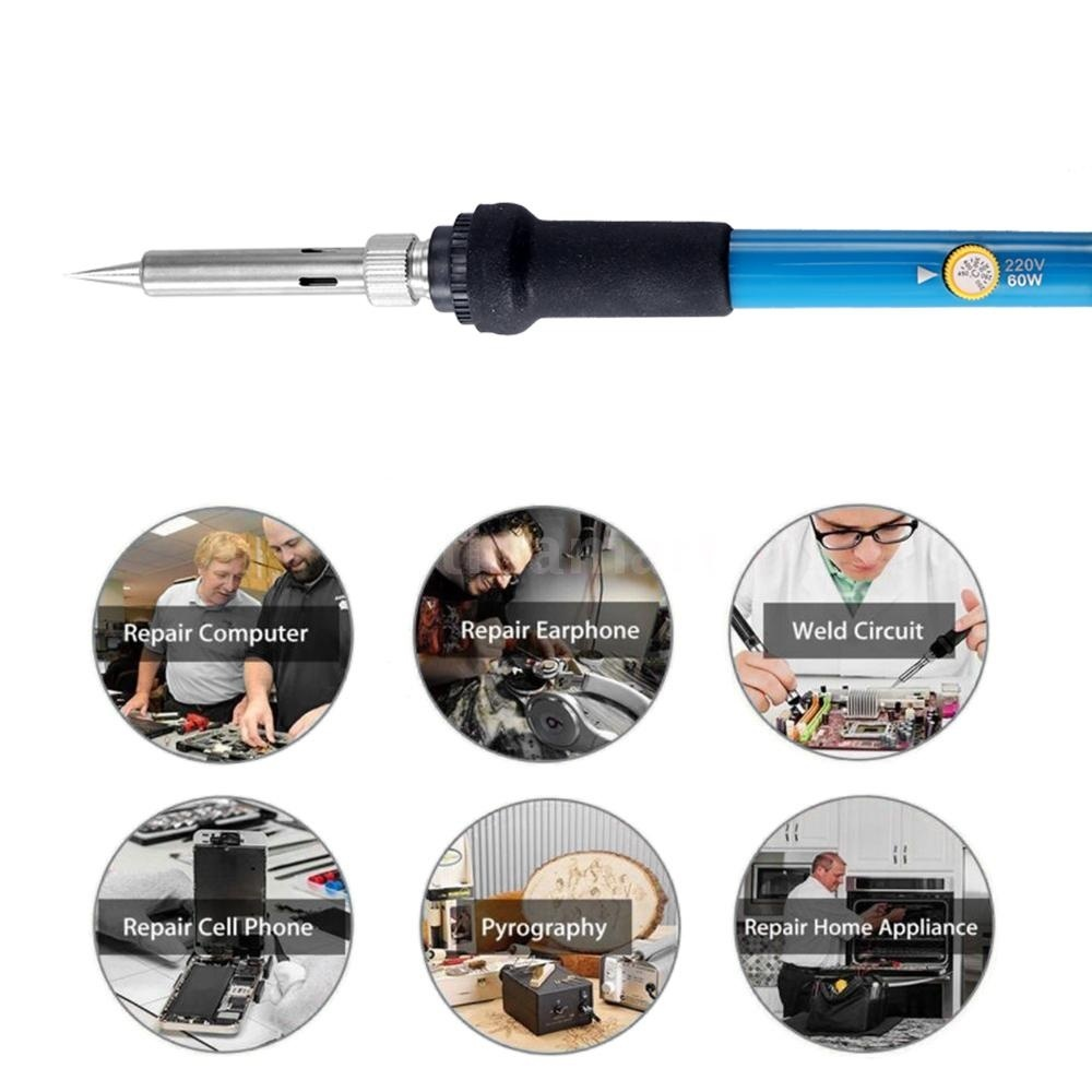 6/28PCS 60W Electric Adjustable Temperature Welding Soldering Iron Kit Carving Pyrography Tool Wood Embossing Burning Soldering Pen Set