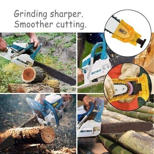 New Yellow Woodworking Teeth Chainsaw Sharpener & 3 Stone Grinder Grinding Chain