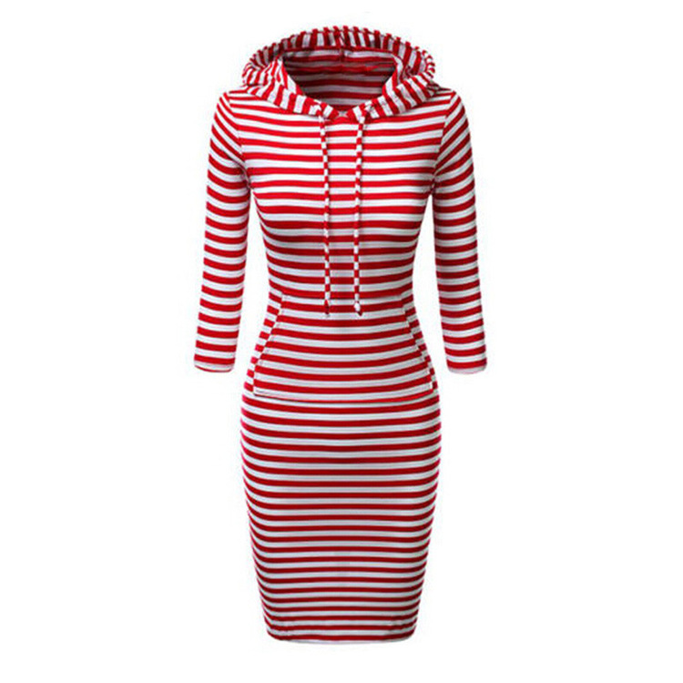 Women Stripes Pocket Knee Length Slim Casual Pullover Hoodie Dress( 50% discount)
