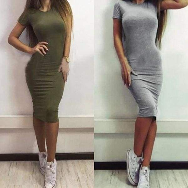 Women Midi Slim Basic Vestidos Bodycon Short Sleeve Package Hip Robe Dresses Sexy Office Skirt
