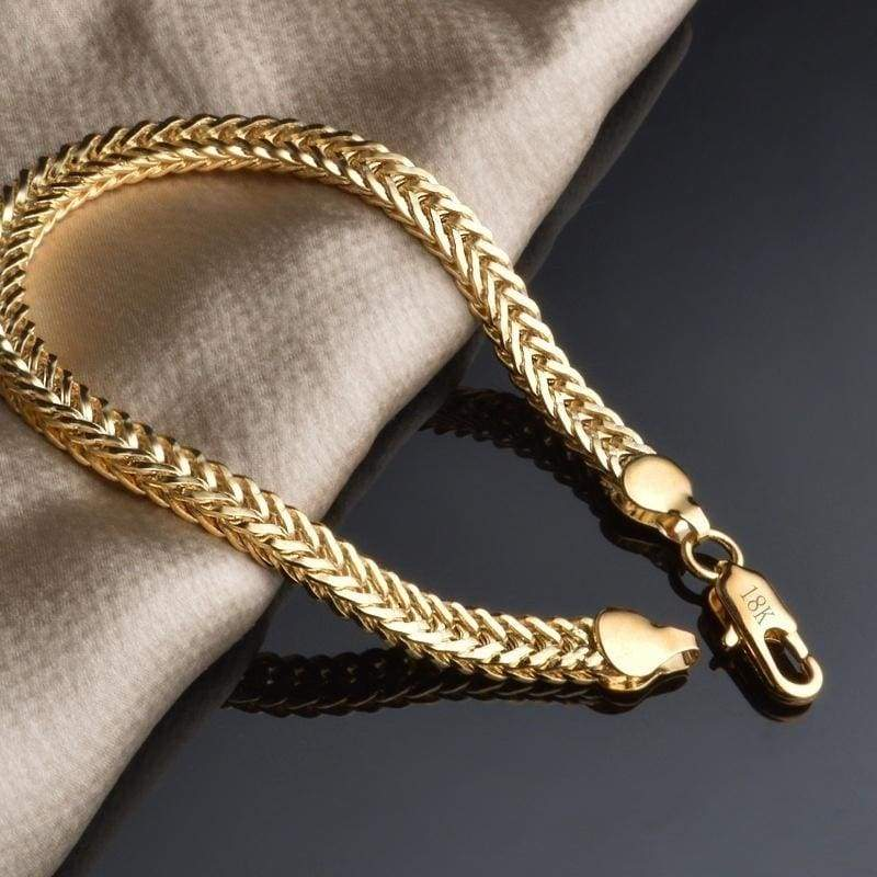 Fashion Jewelry Men and Women Chain With Length 21cm 18K Gold Plated Friendship Jewelry,Couple's Jewelry Bracelet Charms