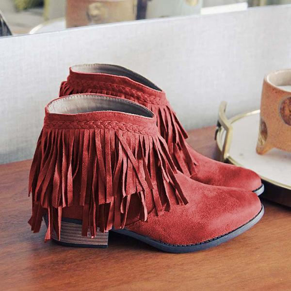 Faddishshoes Round Toe Casual Chunky Heel Tassel Ankle Boots