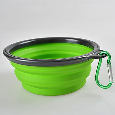 Dogs Cats Pets Bowls & Water Bottles / Food Storage 0.35 L Silica Gel Portable Outdoor Travel Solid Colored Green Blue Pink Bowls & Feeding