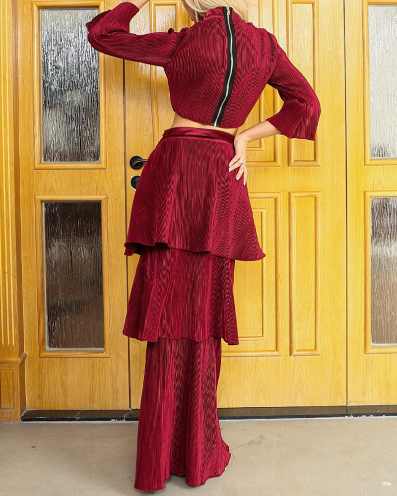 High-Necked Long-Sleeved Two-Piece Flouncing Evening Dress