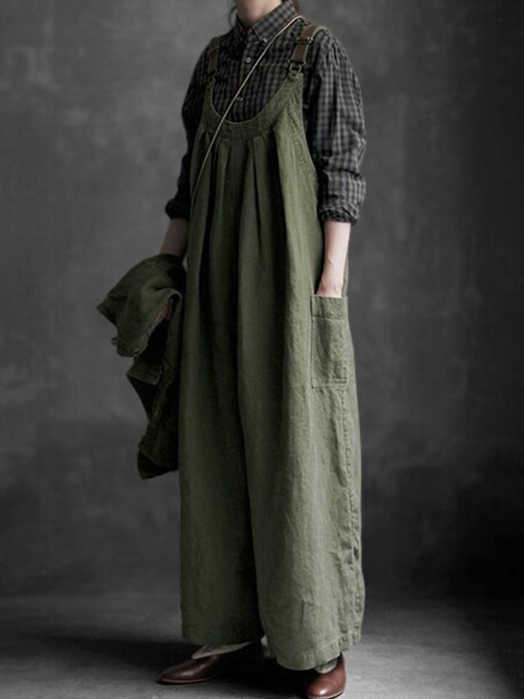 Linen Casual Loose Overalls Jumpsuit