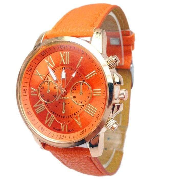 Women s Fashion Stylish Geneva Numerals Faux Leather Analog Quartz Wrist Watch