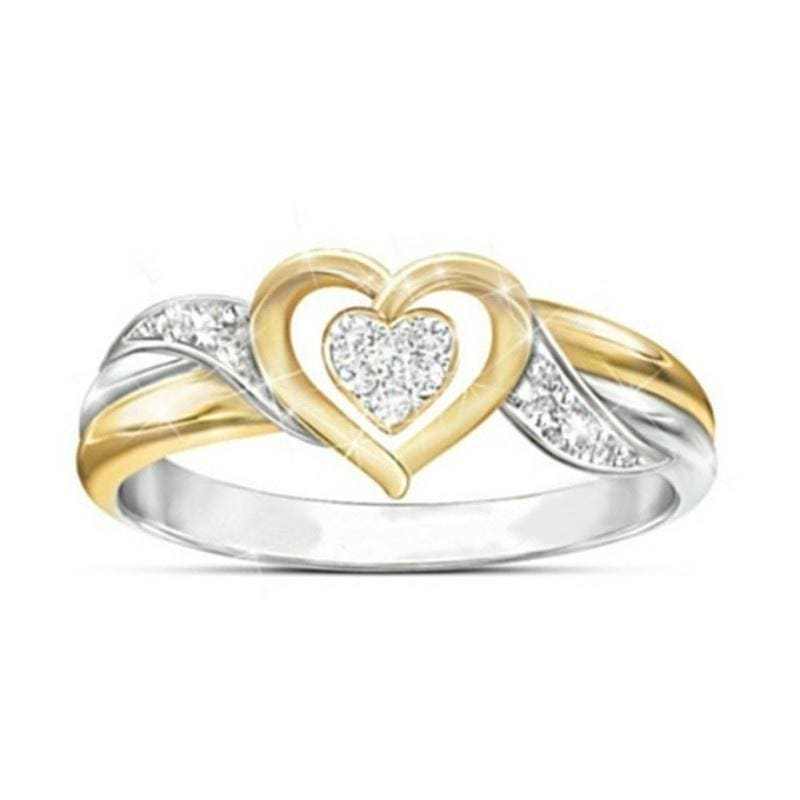 Eternal Love Cordiform Ring 925 Silver & 18K Gold Two Tone Double Heart Diamond Ring Memorial Jewelry