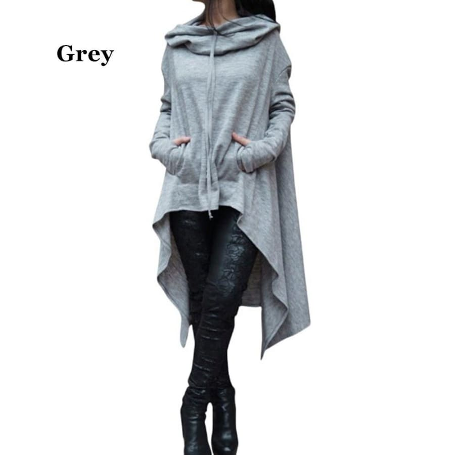 10 Colors Womens Solid Color Draw Cord Coat Batwing Long Sleeve Loose Casual Long Hoodies Sweatshirts Hooded Pullover Poncho Coat