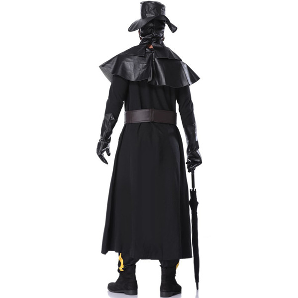 Plague Doctor Halloween Costume with Headgear Mask + Draped Leather + Gloves + Waist Leather + Jumpsuit