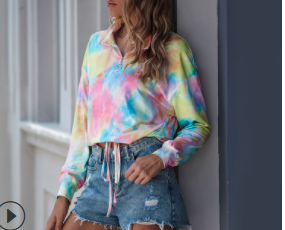 Autumn and winter new style  women's loose tie-dye sweater women's sports top with long sleeves