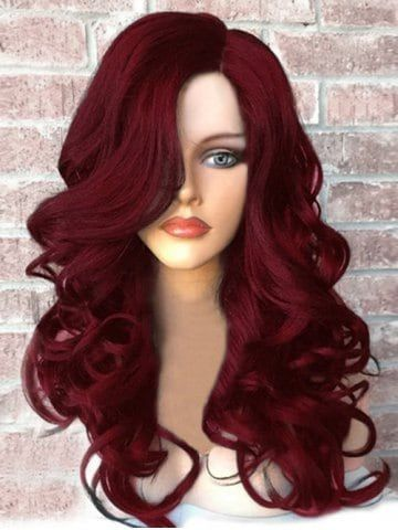 Lace Frontal Wigs Red Hair Orange Human Hair Wig Different Color Lace Wigs Mens Haircut Short Sides Long Top Red Violet Hair Free Shipping