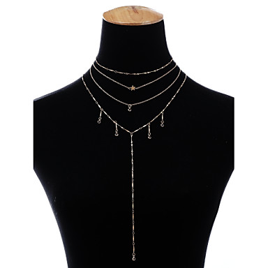 Women's Crystal Pendant Necklace Chain Necklace Y Necklace Layered Star Ladies Fashion Copper Gold Silver Necklace Jewelry For Party Carnival