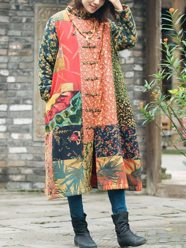 Linen & Cotton Pattern Mix Overcoat with Buttonhole Loop